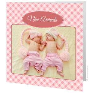 birth-announcement-pink-checkered-design-twins